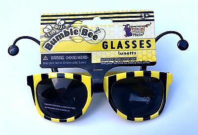 e31f9b0dcd4 ... Funny BUMBLE BEE SUNGLASSES Bug Mask Child Black Yellow Stripe Antenna  Insect 2