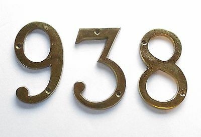 Vintage Mid-Century House Numbers #3 #6 #8 Solid Brass 2