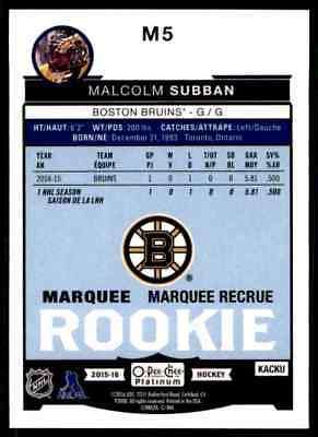 2015-16 O-Pee-Chee Platinum Marquee Rookies Malcolm Subban Rookie #M5 2
