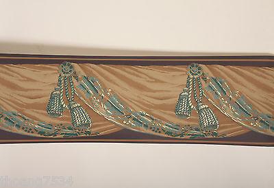 Victorian Leopard Gold Medallion Swag Drapery Valance Drape Wallpaper Border