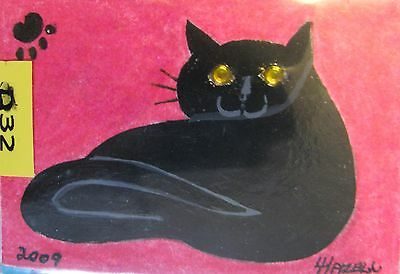"""A669    Original Acrylic Aceo Painting By Ljh        """"Joey""""  Cat  Kitten 8"""