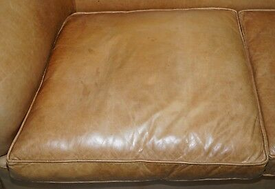 1 Of 2 Vintage Victorian Style Restored Brown Leather Club Sofas Coil Sprung 5