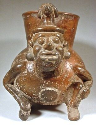 Pre-Columbian MIXTEC FIGURAL JAR W/DOG HEAD HEADDRESS COA 9
