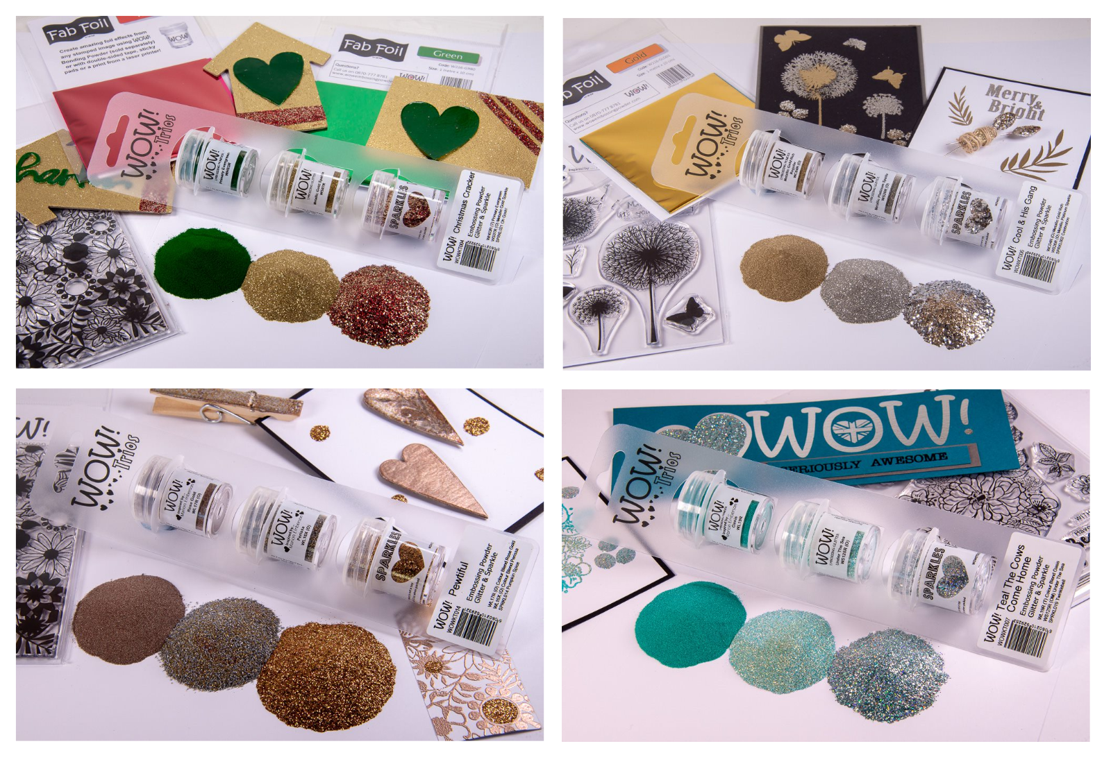 gold silver tinsel gold tinsel Joblot 4 x Heat It Up Embossing Powders silver