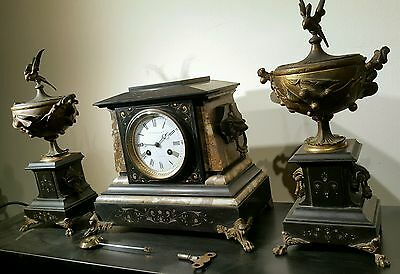 Antique J E Caldwell French Mantel Clock Set w/ Urns Marble Bronze 19th C EXLNT! 5