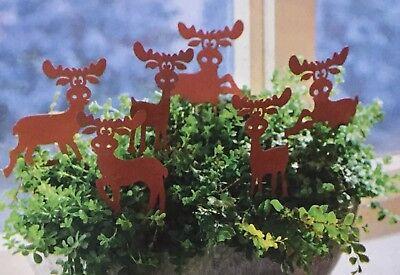 braun Elch Dekostecker Gartenstecker 6 Rehe Elche NEU aus Metall in rost