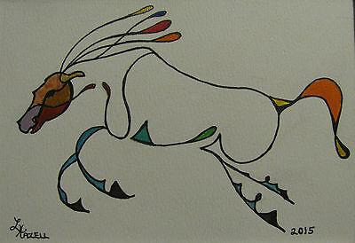 "C131         Original Acrylic Painting By Ljh         ""Scaredy Cat"" 6"