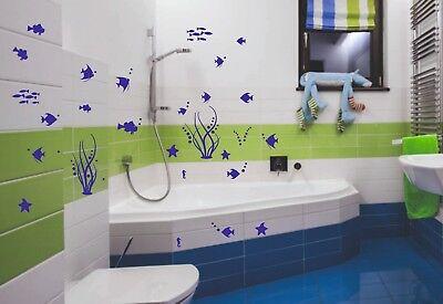 Bad Deko Wandtattoo Xxl Set Unterwasserwelt Fische Badezimmer Wc Fliesen Dusche Eur 13 60 Picclick De