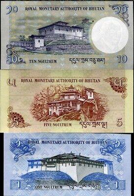 Bhutan Set 3 Pcs 1 5 10 Ngultrum Random Year P 27 28 29 Unc