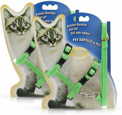 Adjustable Harness/leads/Collar For Animal Walking Cats/Kitten/Ferrets/pets UK 6