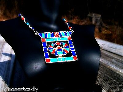 Large SOLID Egyptian Revival Silver Scarab Pendant Hand Crafted Vintage Necklace 4