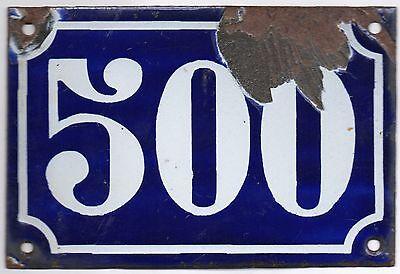 Old blue French house number 357 door gate plate plaque enamel metal sign c1900 2