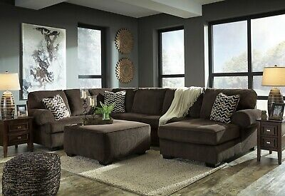 Ashley Furniture Jinllingsly Chocolate 3 Piece Sectional