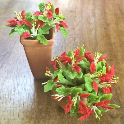 6 Clay Dollhouse Miniature Poinsettia Flowers,Christmas Plants,Christmas Decor 3