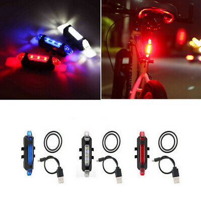 5 LED USB Rechargeable Bike Tail Light Bicycle Safety Cycling Warning Rear Lamp 10