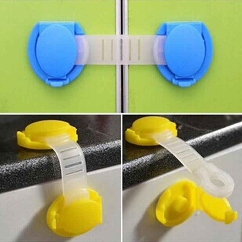 5pc Baby Adhesive Safety Latches Door Cupboard Cabinet Fridge Drawer Lock Strap 4