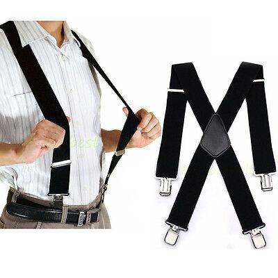 "50"" Black Mens Braces Suspenders Heavy Duty Work Biker Leathers Braces 1pcs 2"