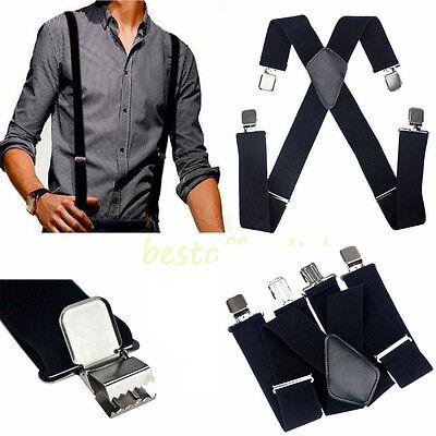 "50"" Black Mens Braces Suspenders Heavy Duty Work Biker Leathers Braces 1pcs"