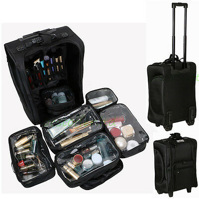 1 Of 12 Pro Nylon Rolling Makeup Train Case Salon Cosmetic Luggage Storage  Removable Bag
