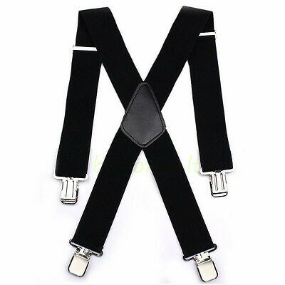 "50"" Black Mens Braces Suspenders Heavy Duty Work Biker Leathers Braces 1pcs 5"