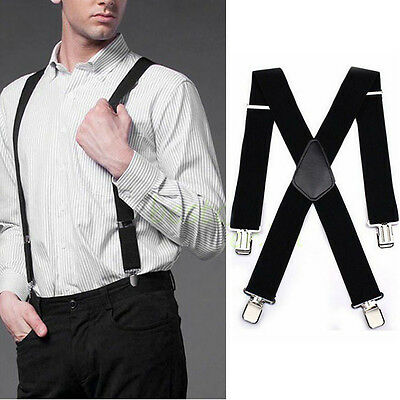 "50"" Black Mens Braces Suspenders Heavy Duty Work Biker Leathers Braces 1pcs 3"