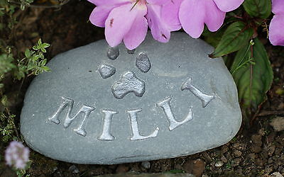 Hand carved, Personalised Pet Memorial stone, dog, cat, grave marker silver 2