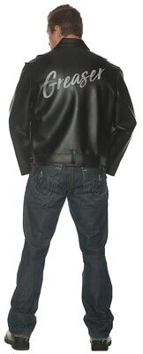 Greaser Adult Men/'s Black Faux Leather Jacket Grease Danny 50s T-Birds Halloween