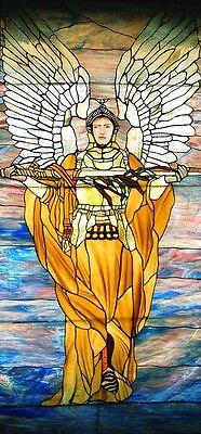 Stained Glass Window, Angel with Sword, attrib. Tiffany #5753 4