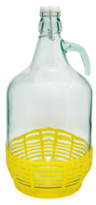 4 STÜCK 5L Gärballon mit BÜGELVERSCHLUSS und Korb Flasche Glasballon Weinballon 2