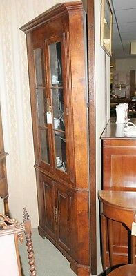 Farmhouse Cherry Wood Corner Cabinet Display Bookcase 2