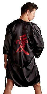 Svenjoyment Herren Satin Kimono Schwarz Rot Glanz Morgenmantel Bademantel L XL 4