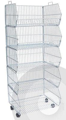 2 Of 4 White Square Dump Bin / Stacking Baskets Storage Shop Retail Display  Stand