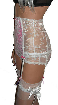 Lace Suspender Belt Set / Waspie with High Waist and Boned to Front + Knickers