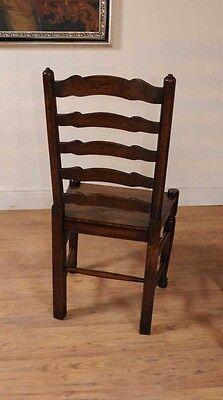 Set 8 Oak Ladderback Chairs Kitchen Dining Chair Farmhouse Furniture 2