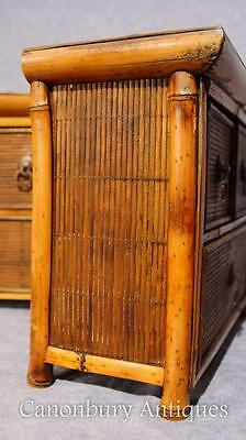 Pair Chinese Antique Bamboo Chest Drawers Mini Travelling Samples 1880 9