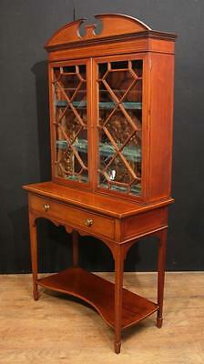Antique Edwardian Sheraton China Cabinet Bookcase 4