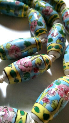Antique Chinese Art Deco Necklace Estate Porcelain Hand Painted Large Beads Long 3