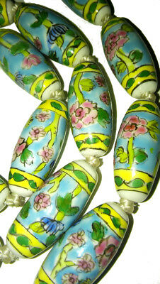 Antique Chinese Art Deco Necklace Estate Porcelain Hand Painted Large Beads Long 5