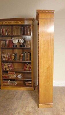 7 Ft English Regency Open Sheraton Bookcases Satinwood 2