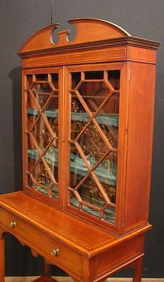 Antique Edwardian Sheraton China Cabinet Bookcase 3