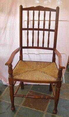 set 8 French Rustic Spindleback Chairs in Oak 11
