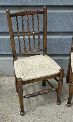 Pair Oak Spindleback Kitchen Chairs Country Farmhouse 3