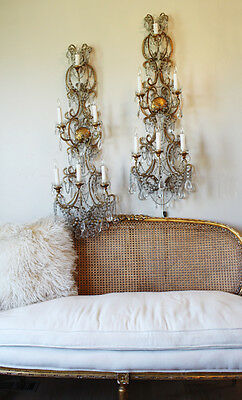 Antique Rare Pair Italian Beaded 4 Foot Wall Sconces Gorgeous 2