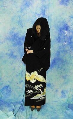 High-Quality   Japanese kimono   KURO-TOMESODE 160cm(62.9inch) 4
