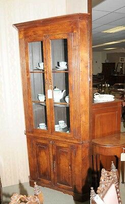 Farmhouse Cherry Wood Corner Cabinet Display Bookcase 10