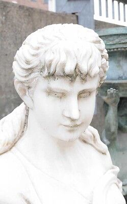 Hand Carved Italian Marble Maiden Female Statue