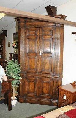 XL Tudor Jacobean Corner Cabinet Oak Farmhouse 10