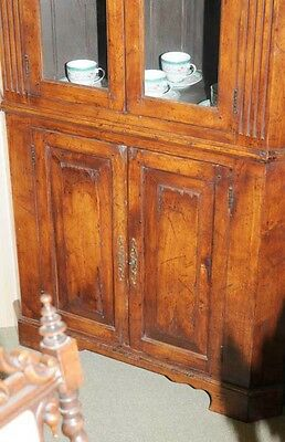 Farmhouse Cherry Wood Corner Cabinet Display Bookcase 5