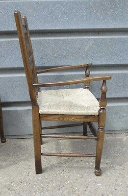Pair Oak Spindleback Kitchen Chairs Country Farmhouse 7