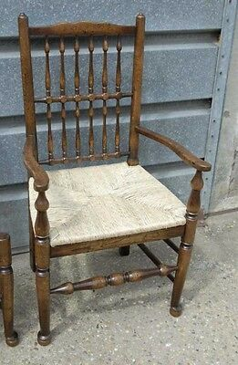 Pair Oak Spindleback Kitchen Chairs Country Farmhouse 8